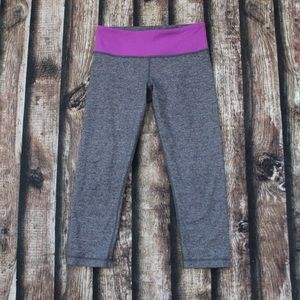 Lululemon Crop Leggings Grey Heathered Purple Band